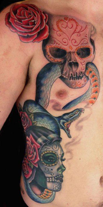 Chest Flowers Girl Head Skull snake Woman Tattoo