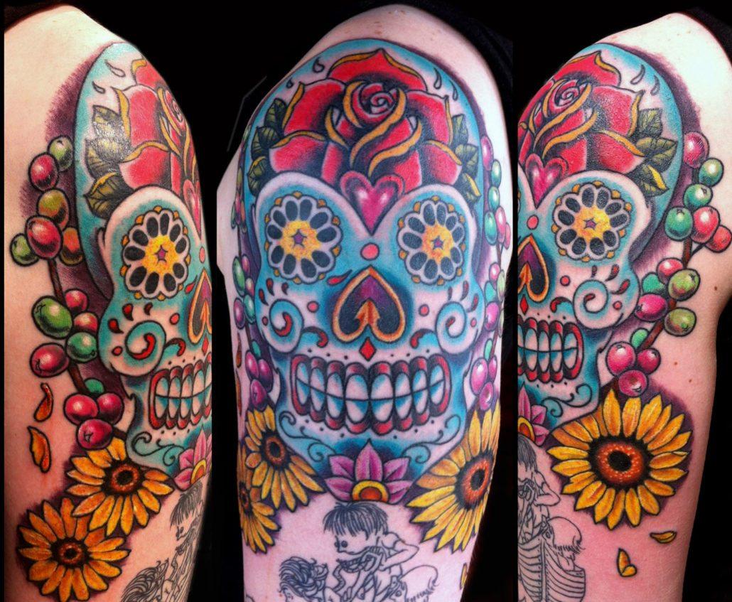 Arm Catrina/Day of the Dead Flowers Skull Tattoo