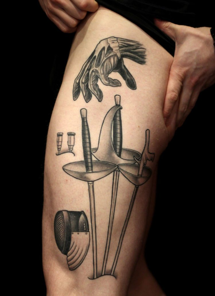 Black & Grey Leg Realistic/Realism Tattoo