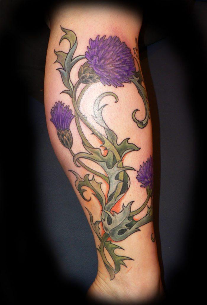 Flowers Leg Tattoo