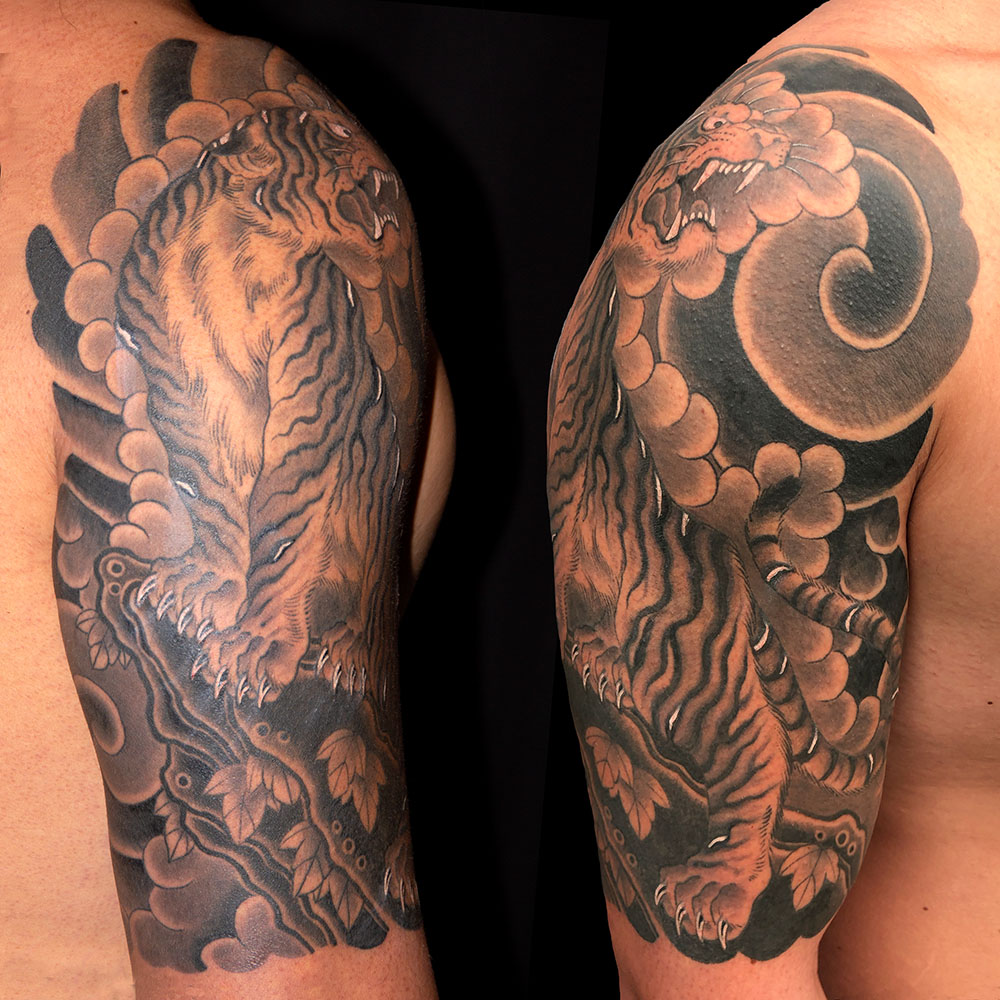 Animals Black & Grey Japanese Tiger Tattoo