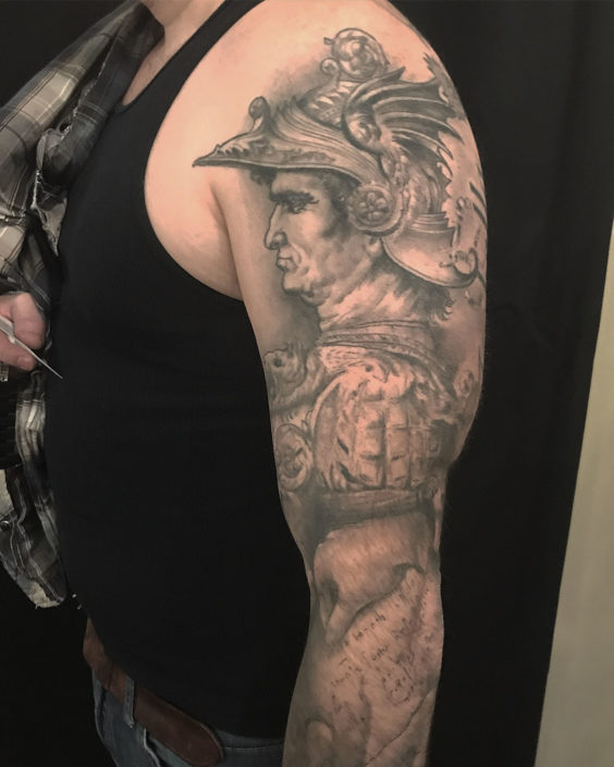 Black & Grey Portraits Sleeve Tattoo