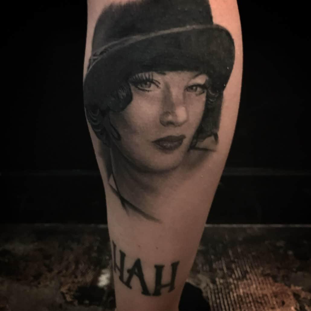 Black & Grey Girl Head Portraits Tattoo