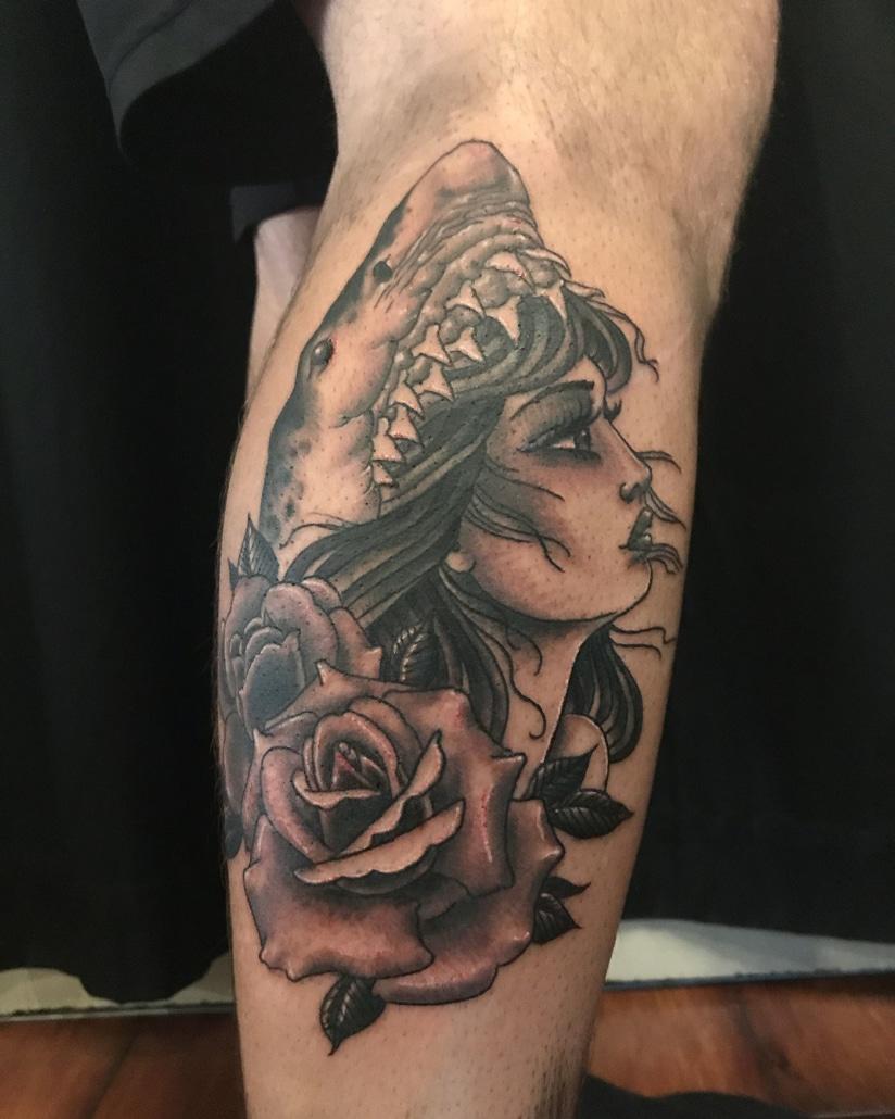 Animals Black & Grey Flowers Girl Head Leg Neo-Traditional Tattoo