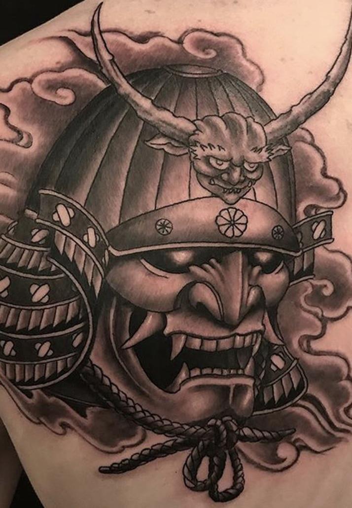 Black & Grey Japanese samurai Shoulder Tattoo