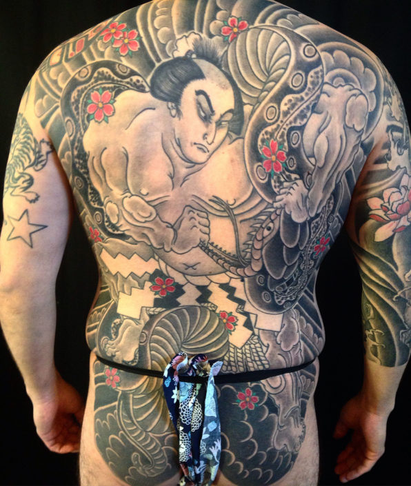 Backpiece Japanese snake Tattoo