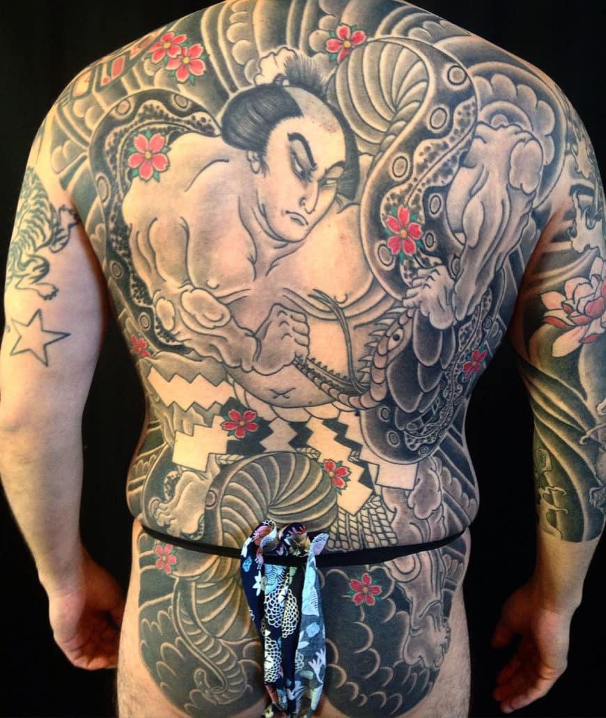Backpiece Japanese snake Tattoo