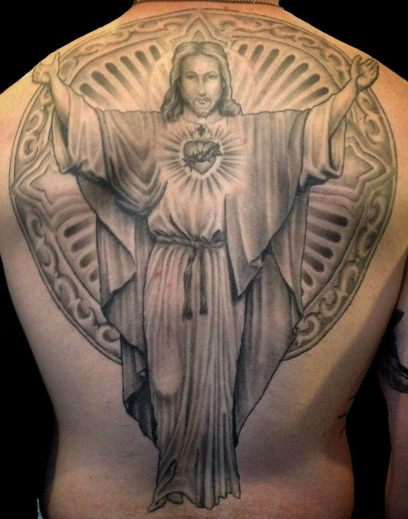 Backpiece Black & Grey Realistic/Realism Religious/Spiritual Tattoo