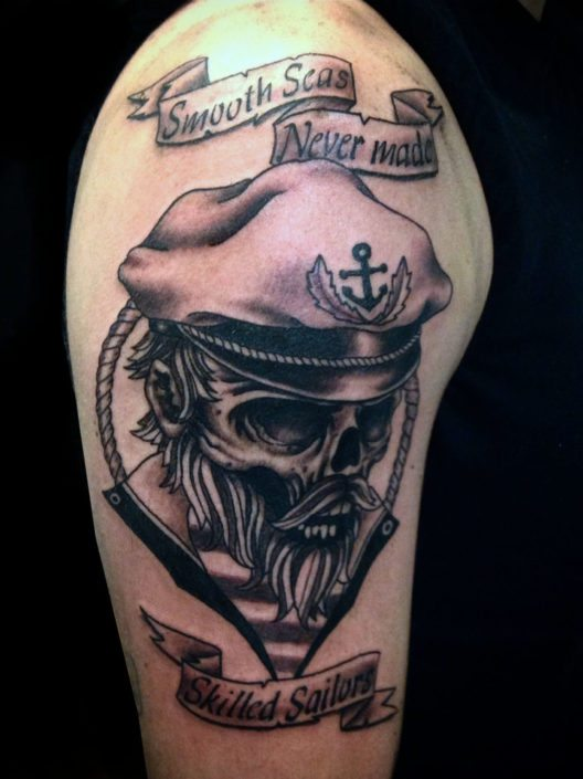 Black & Grey Lettering Skull Tattoo