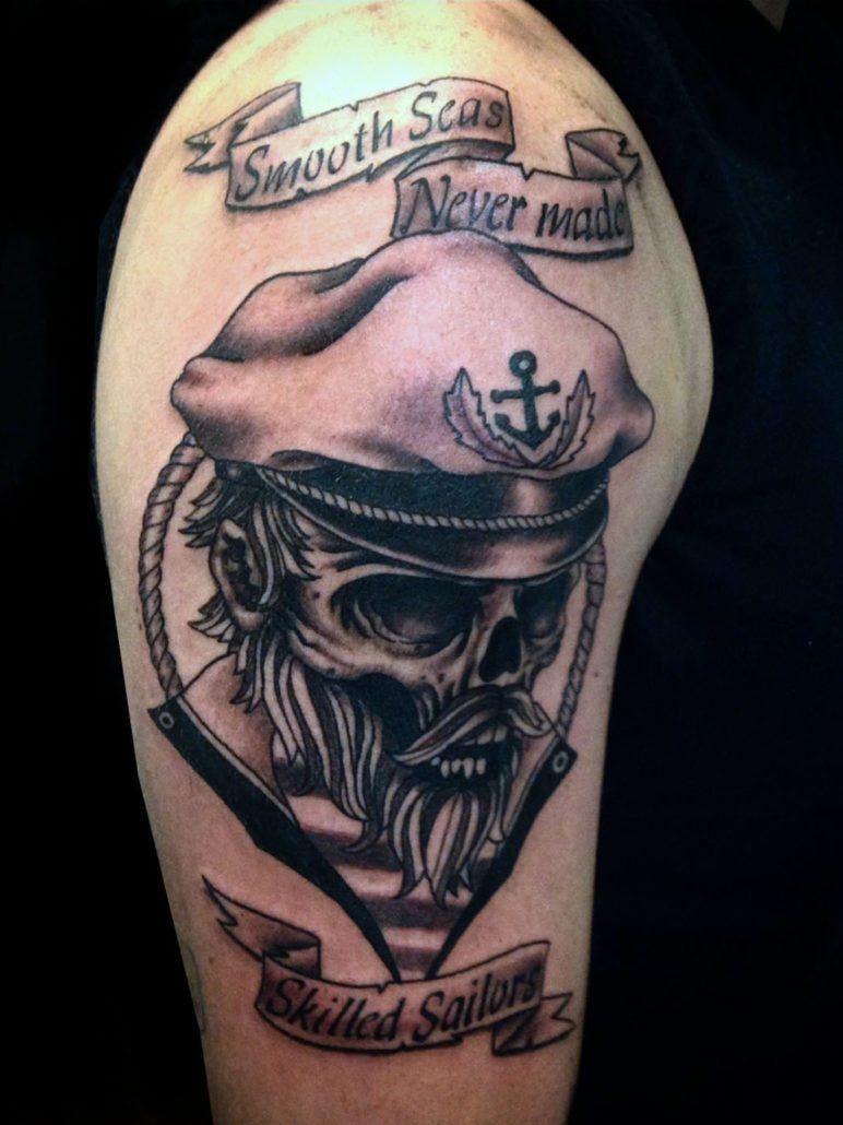 Black & Grey Lettering Skull Tattoo