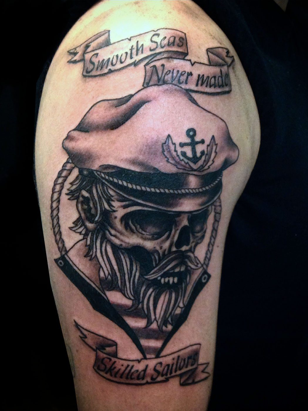 Black grey lettering skull tattoo slave to the needle for Grey tattoo writing