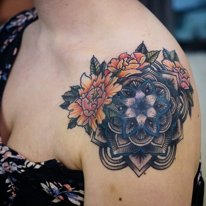 Arm Flowers Shoulder Tattoo