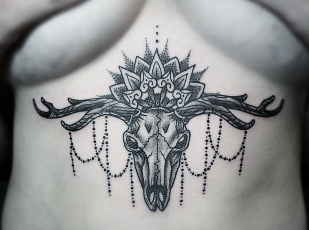 Animals Blackwork Chest Skull Tattoo