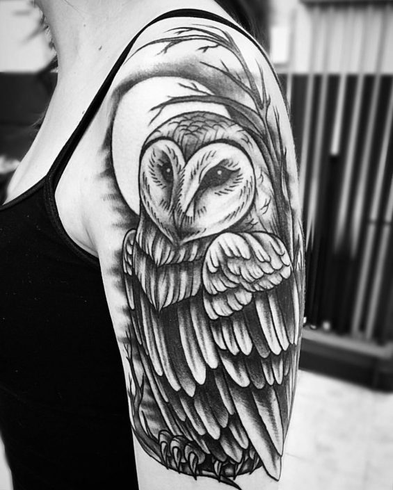 Animals Arm Owl Shoulder Tattoo