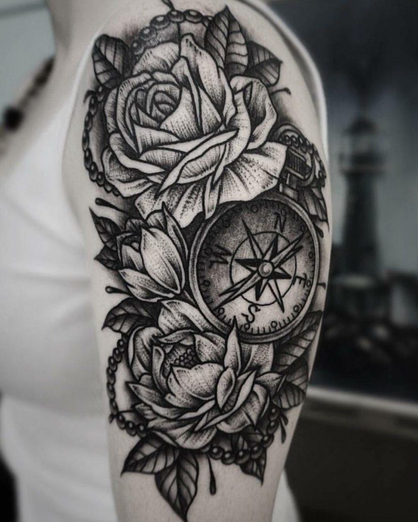 Arm Blackwork Flowers Shoulder Tattoo