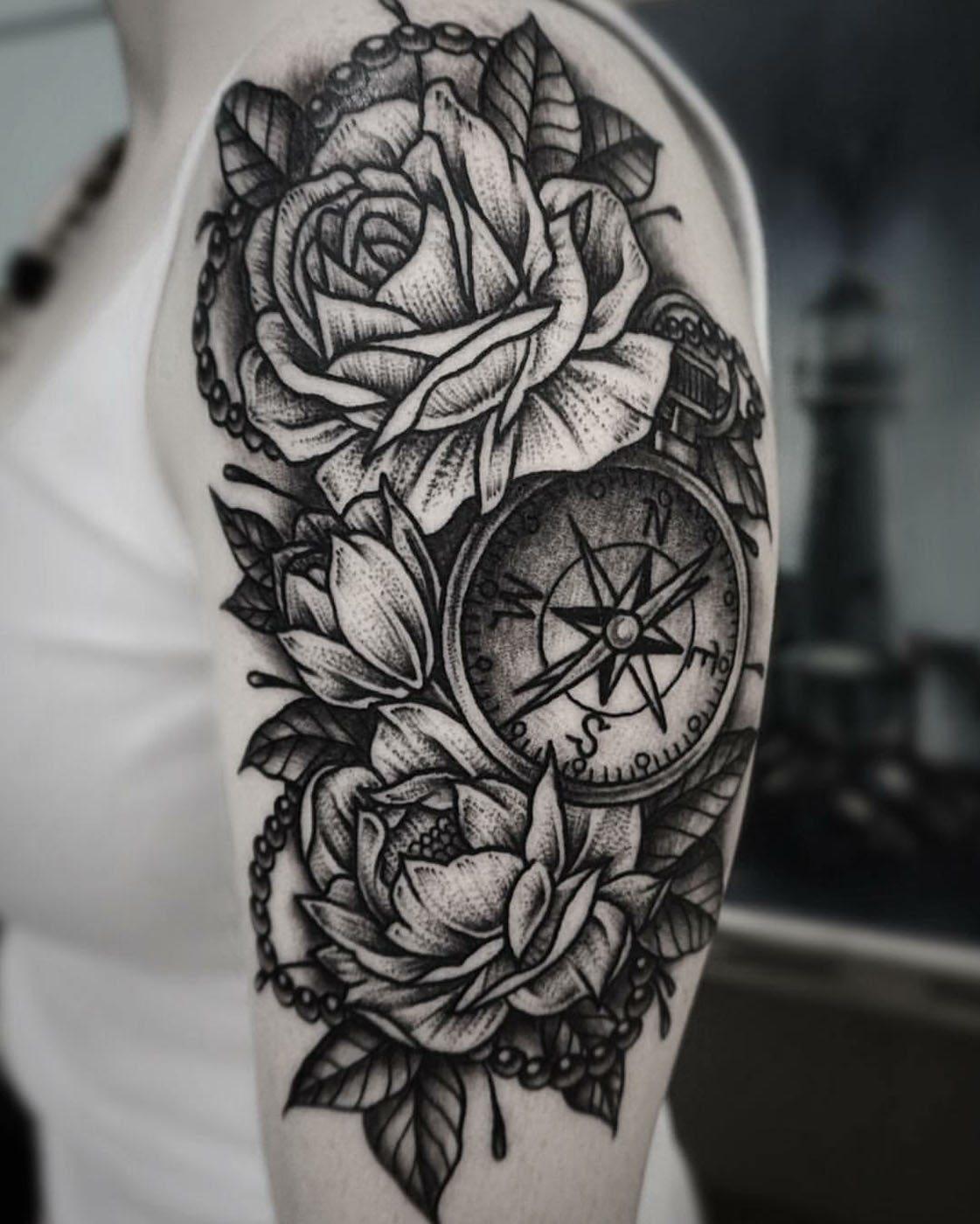 Arm blackwork flowers shoulder tattoo slave to the needle arm blackwork flowers shoulder tattoo mightylinksfo