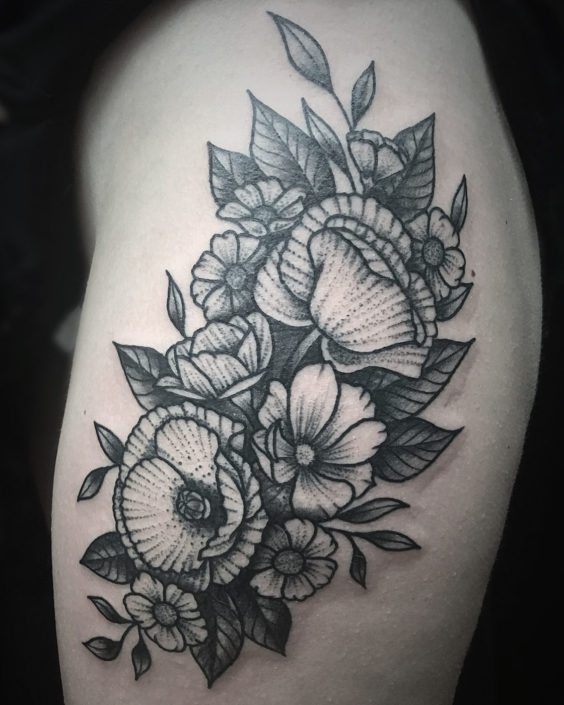 Blackwork Flowers Tattoo