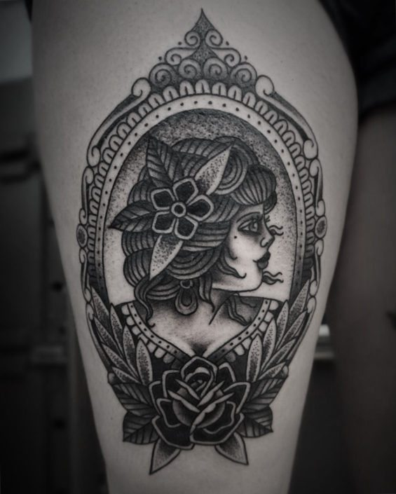 Blackwork Girl Head Neo-Traditional Woman Tattoo