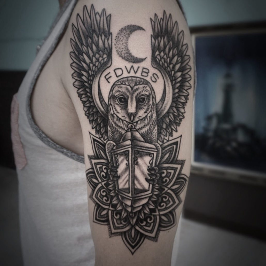 Blackwork Owl Tattoo
