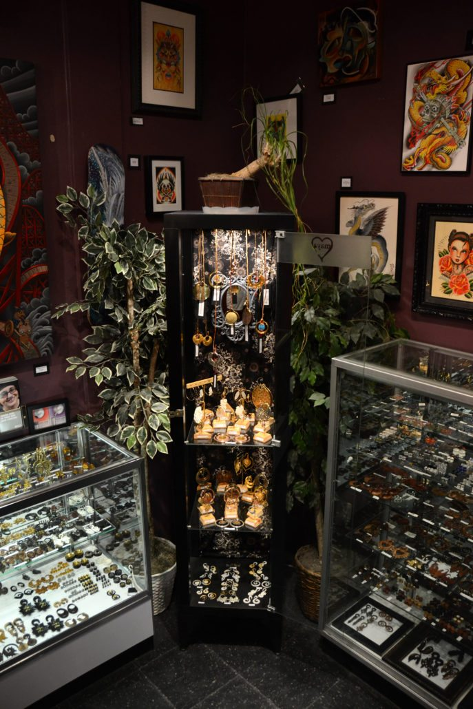 displays at ballard tattoo and piercing shop