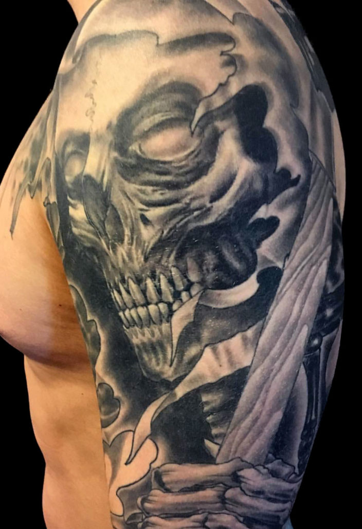 Black & Grey Realistic/Realism Skull Tattoo