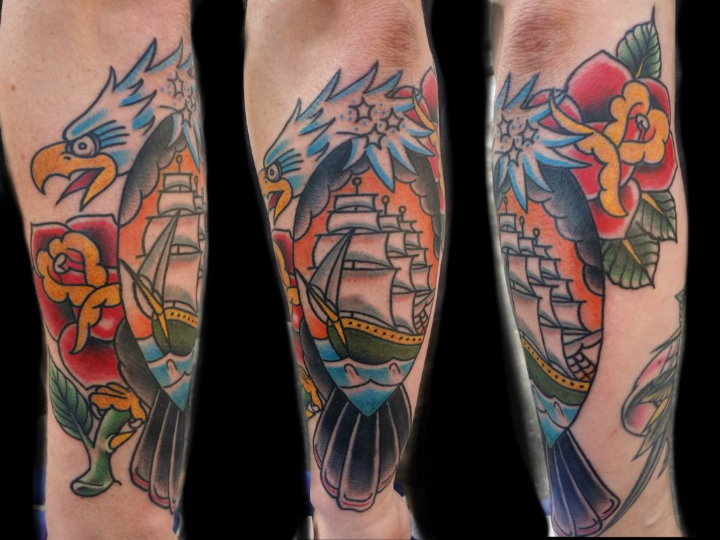 Arm Hawks/Eagles Neo-Traditional Patriotic Traditional/Americana Tattoo