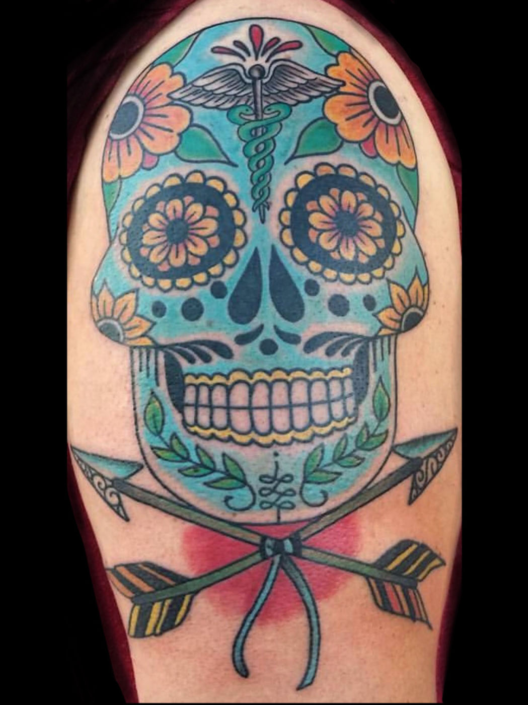 Catrina/Day of the Dead Neo-Traditional Skull Traditional/Americana Tattoo