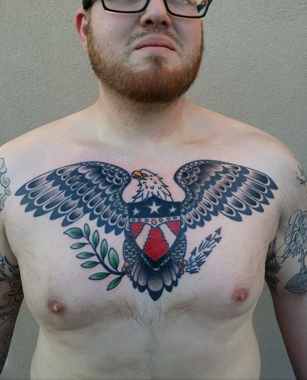 Chest Hawks/Eagles Neo-Traditional Traditional/Americana Tattoo