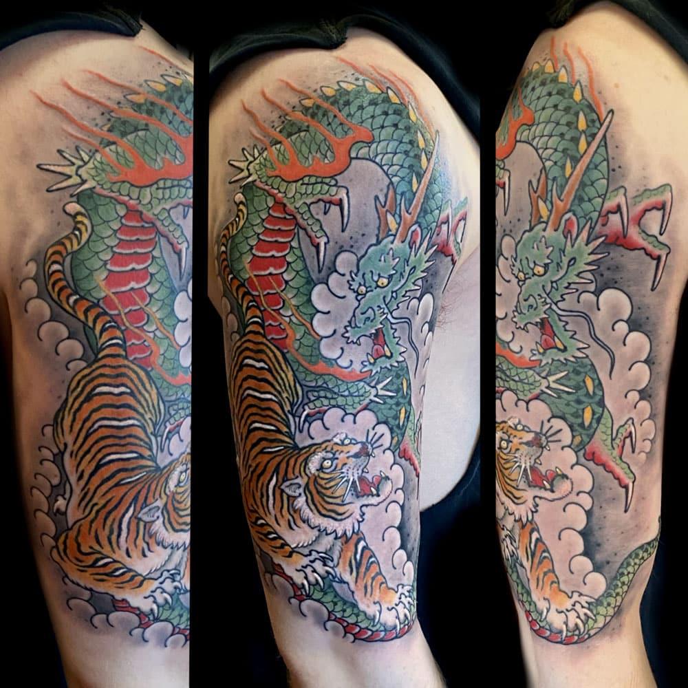 Animals Arm Dragons Japanese Sleeve Tiger Tattoo