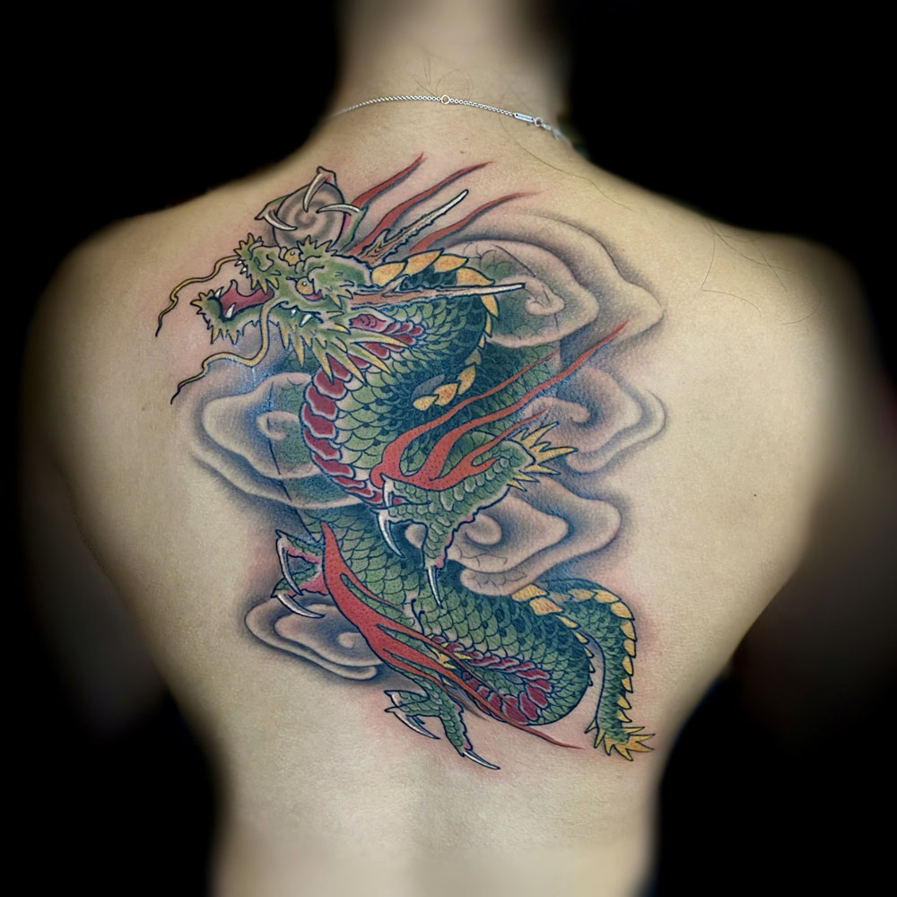 Animals Back Dragons Japanese Tattoo