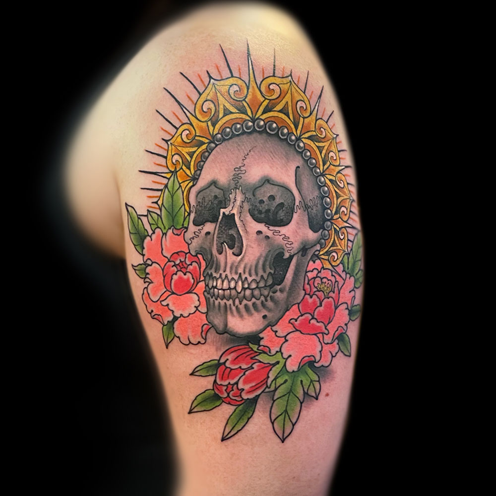 Arm Flowers Neo-Traditional Skull Tattoo