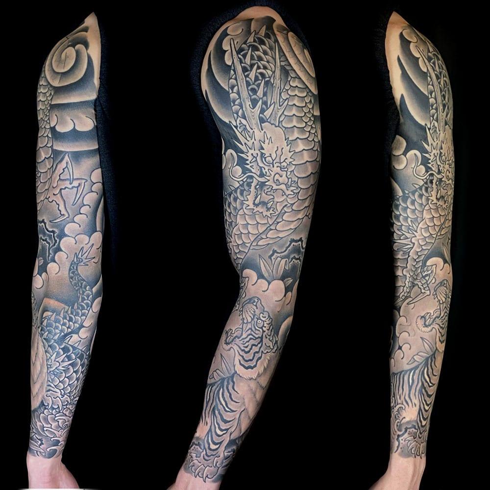 Animals Arm Black & Grey Dragons Japanese Sleeve Tiger Tattoo