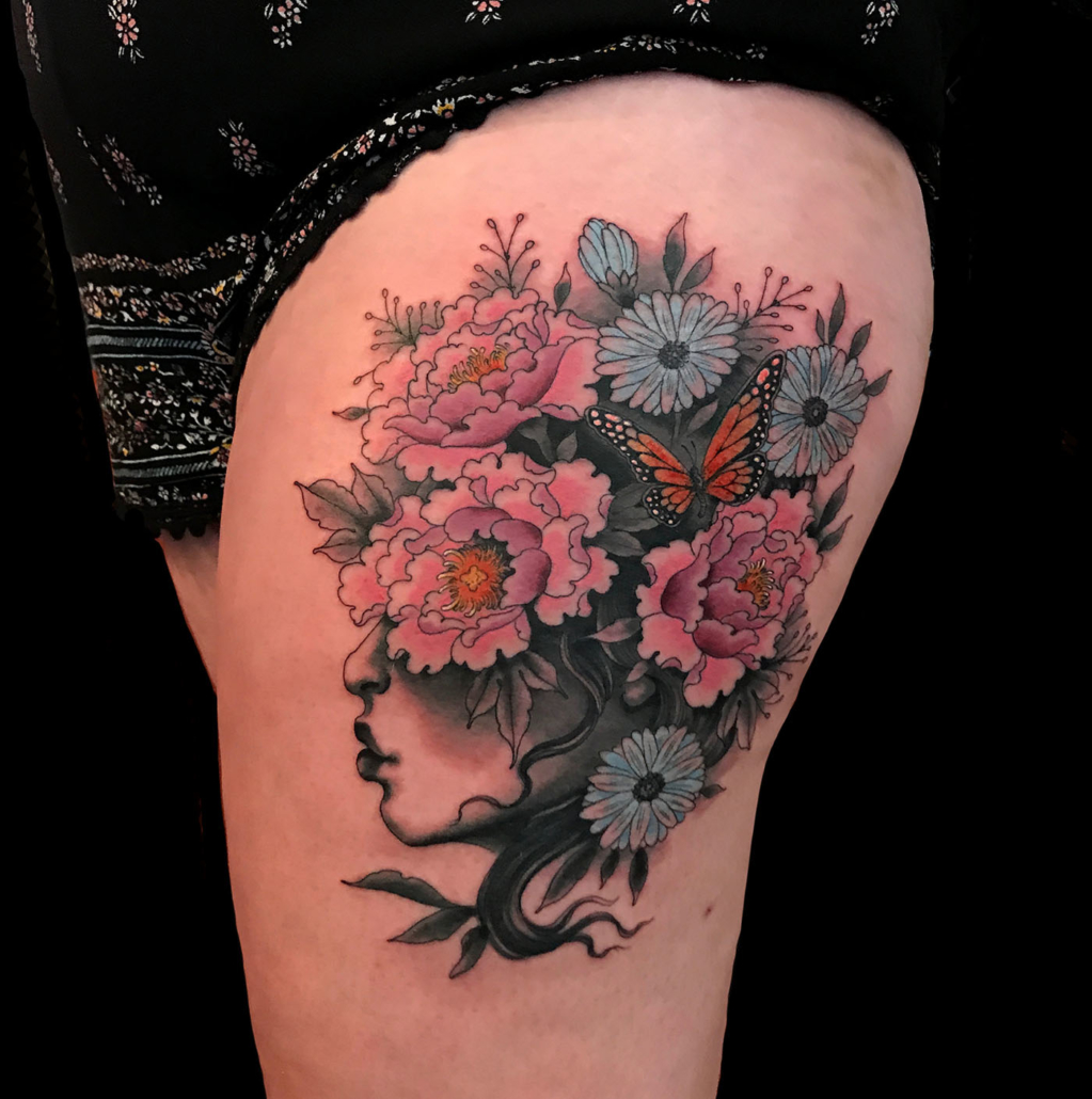 Flowers Girl Head Leg Tattoo