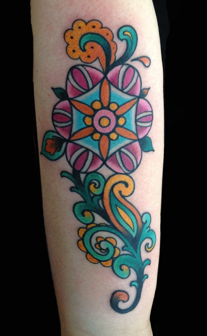 Arm Flowers Geometric/Mandala Tattoo