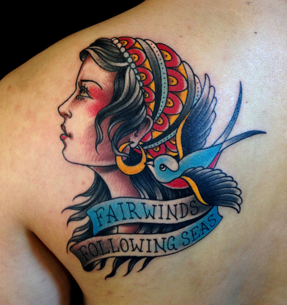 Birds Girl Head Lettering Shoulder Traditional/Americana Tattoo
