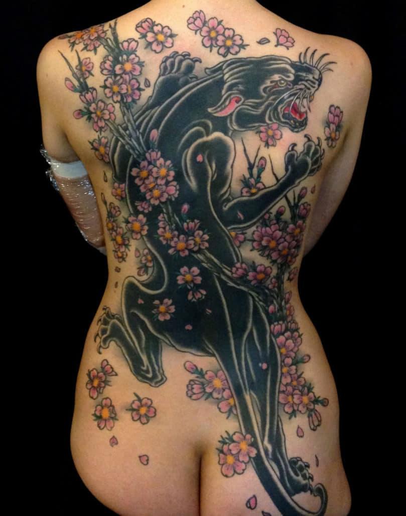 Animals Backpiece Flowers Traditional/Americana Tattoo