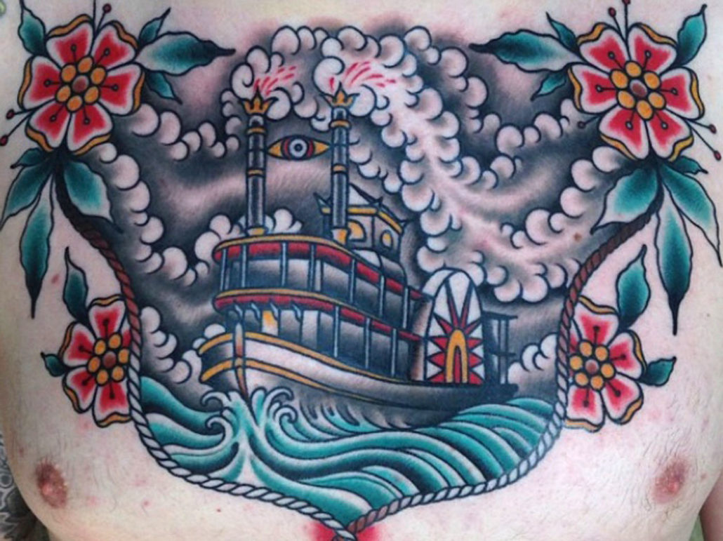 Chest Flowers Nautical Traditional/Americana Tattoo