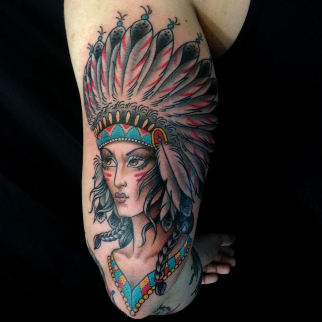 Arm Girl Head Traditional/Americana Tattoo
