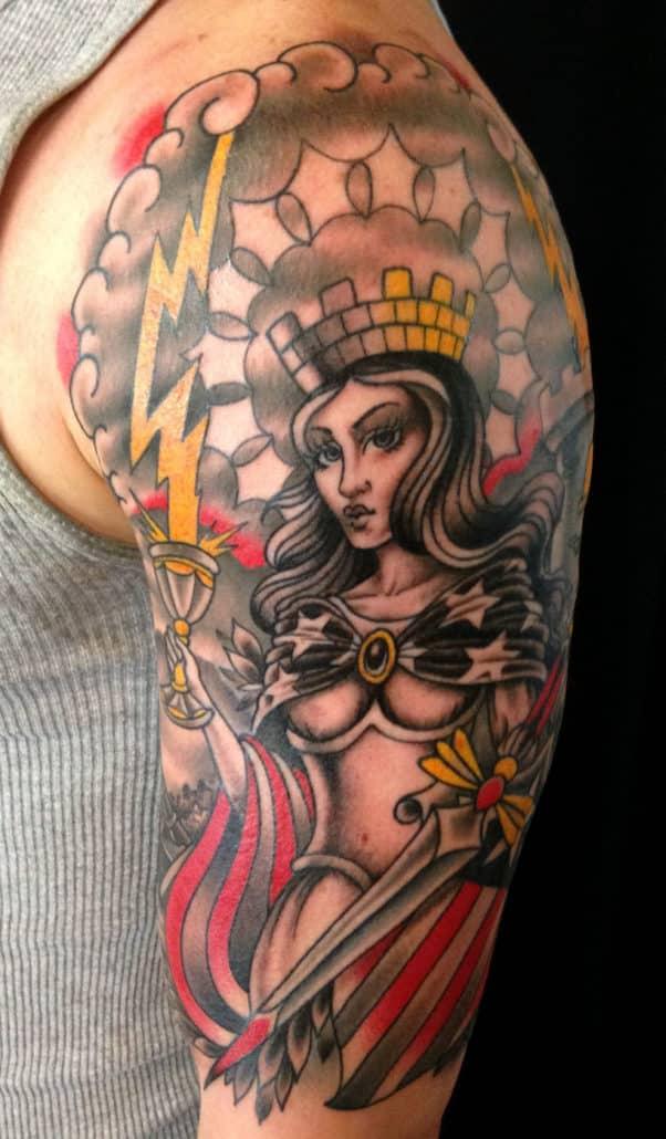 Arm Girl Head Traditional/Americana Woman Tattoo