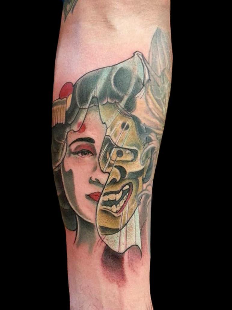 Arm Geisha Girl Head Hannya/Oni Japanese Tattoo