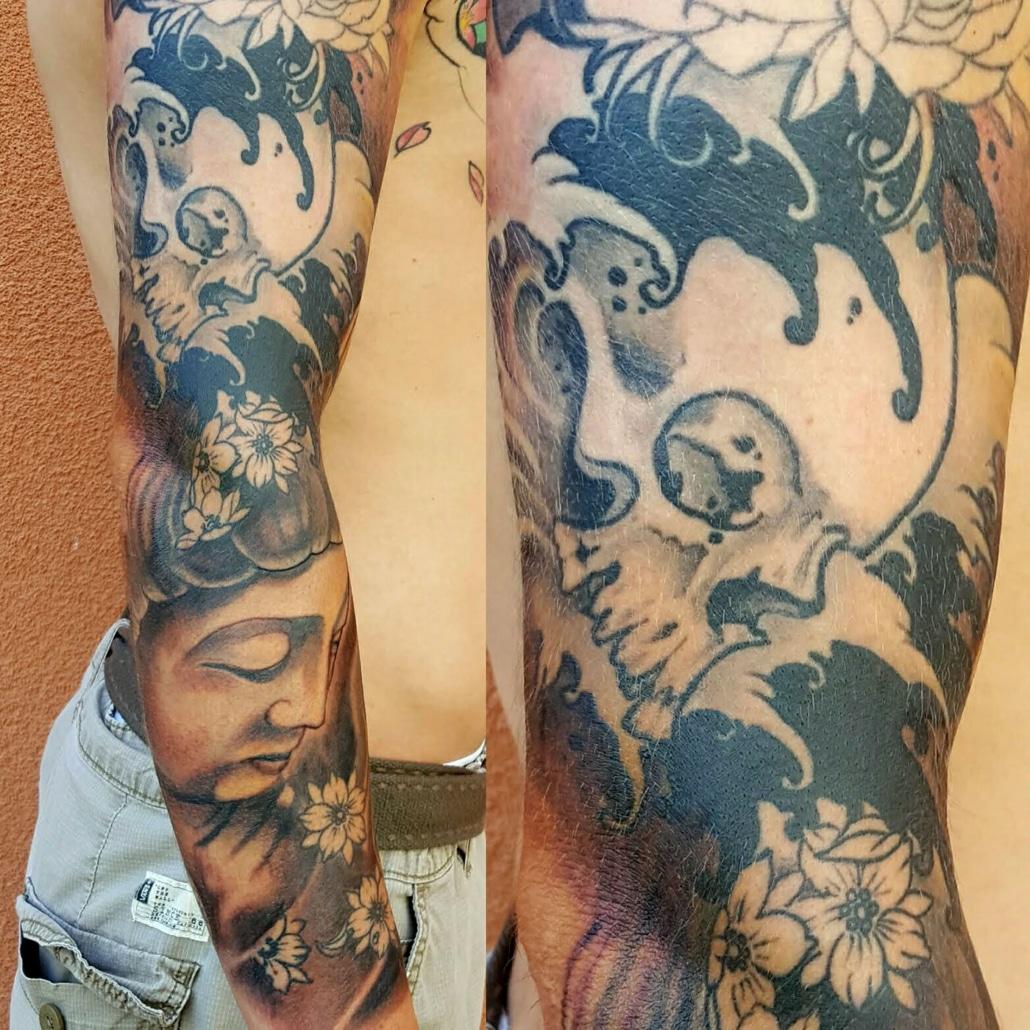 Arm Black & Grey Japanese Religious/Spiritual Sleeve Tattoo