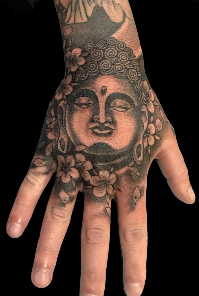 Black & Grey Hand Religious/Spiritual Tattoo