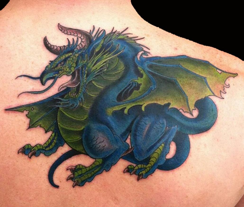 Animals Dragons Mythology Shoulder Tattoo