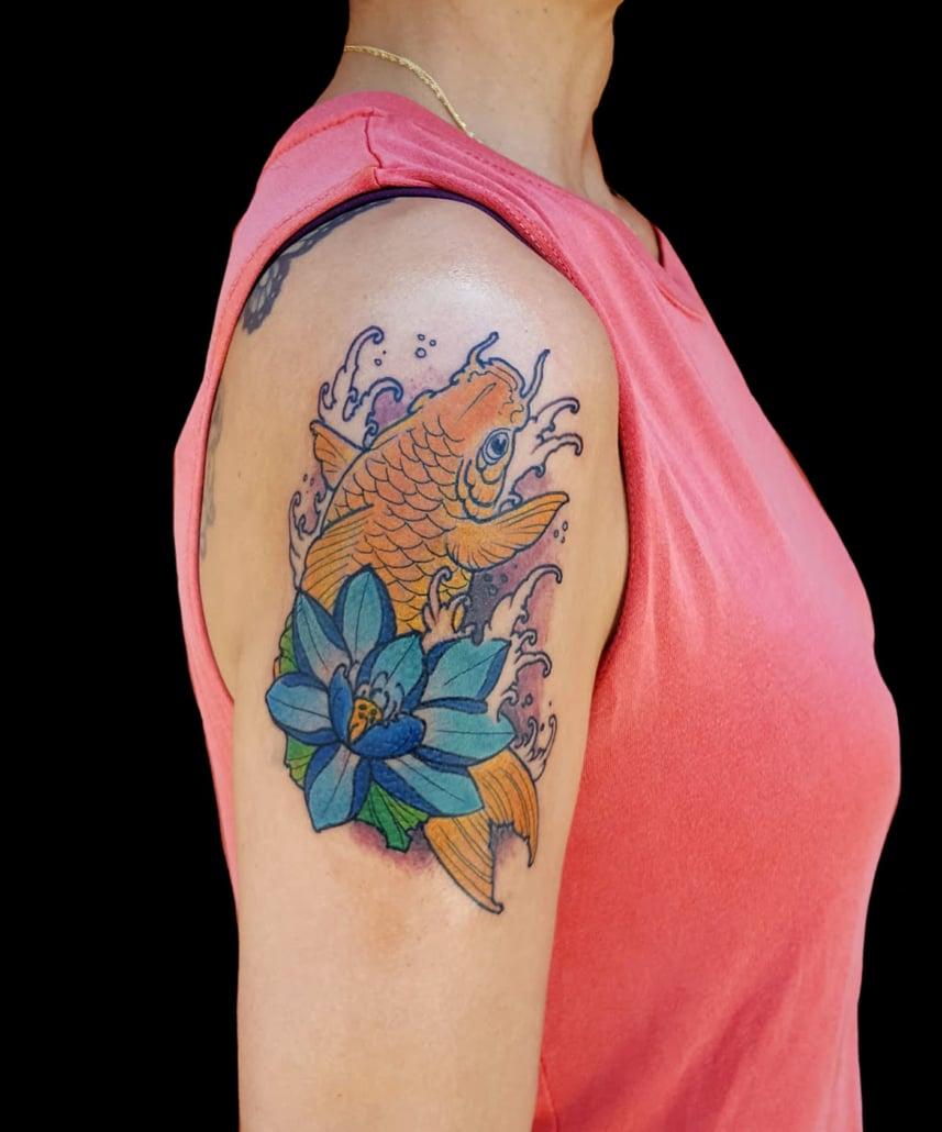 Arm Flowers Japanese Koi Tattoo