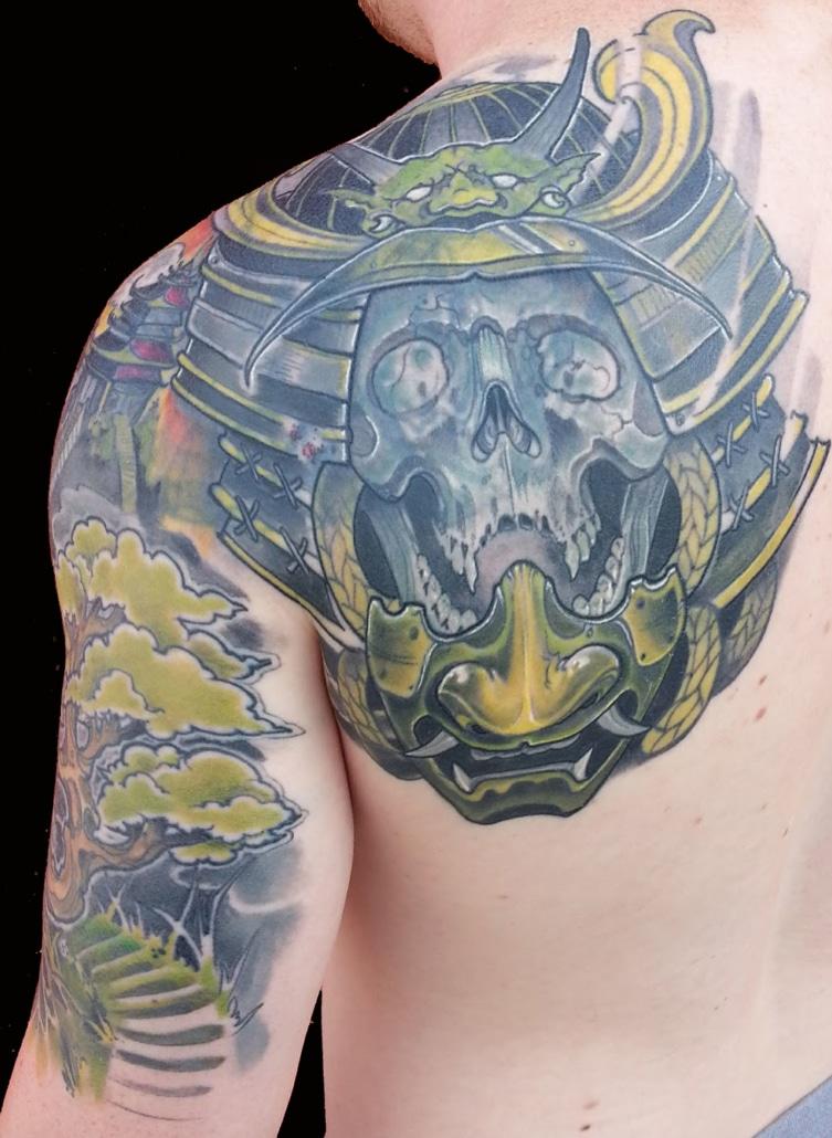 Japanese samurai Shoulder Skull Tattoo