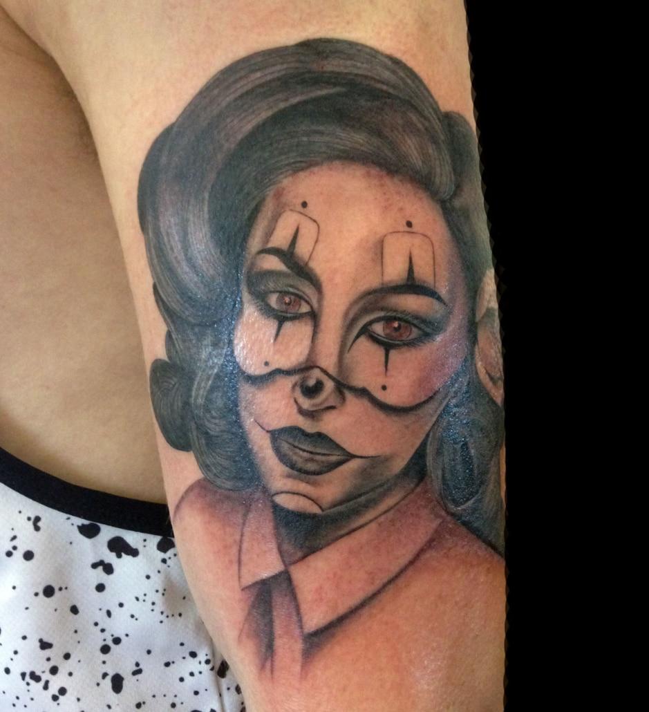 Arm Black & Grey Girl Head Realistic/Realism Tattoo