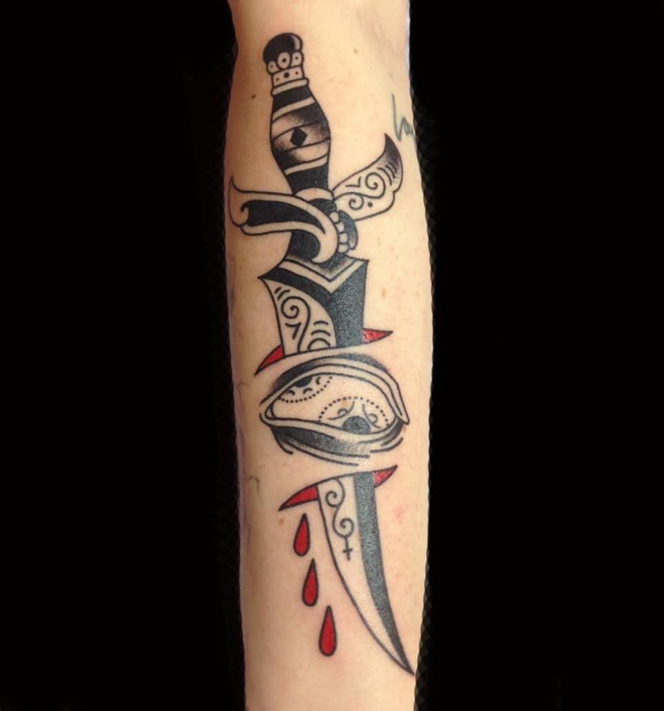Arm Black & Grey Blackwork Traditional/Americana Tattoo