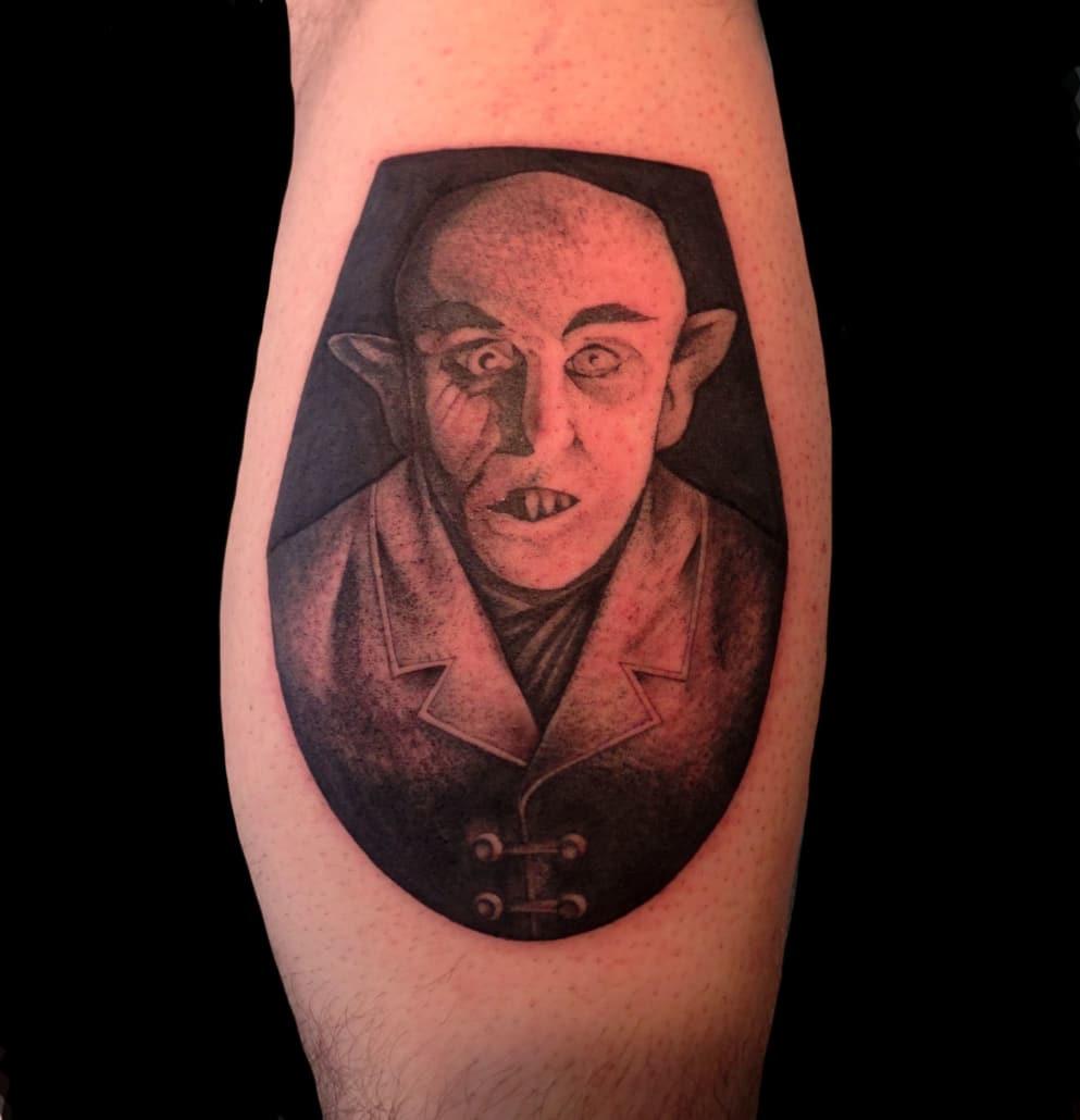 Black & Grey Blackwork Dark/Horror Leg Portraits Realistic/Realism Tattoo