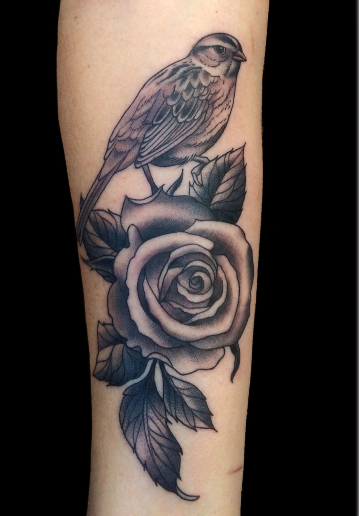 Animals Birds Black & Grey Flowers Tattoo