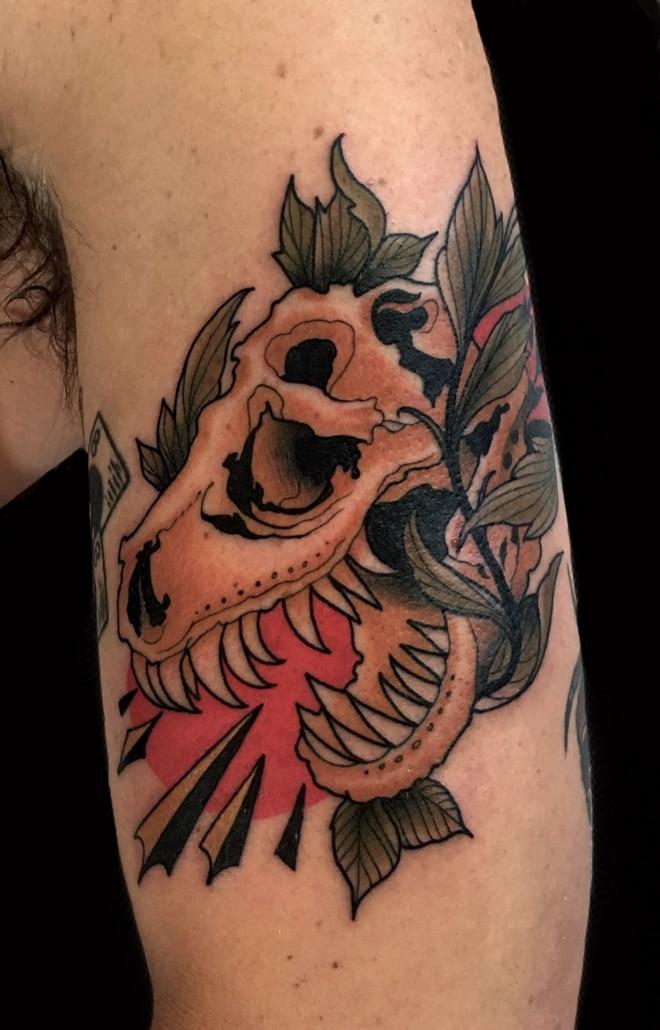 Animals Arm Neo-Traditional Skull Tattoo